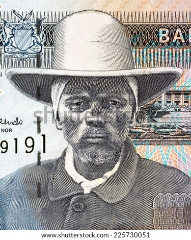 NAMIBIA - CIRCA 2001: Hendrik Samuel Witbooi (1906-1978) on 10 Dollars 2001 Banknote from Namibia.  6th Kaptein of the IKhowesin, a subtribe of the Orlam, in Namibia. - stock photo