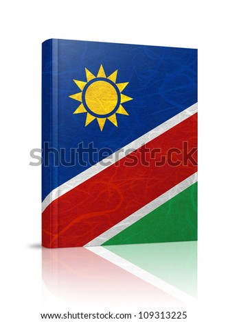 Namibia flag book. Mulberry paper on white background. - stock photo