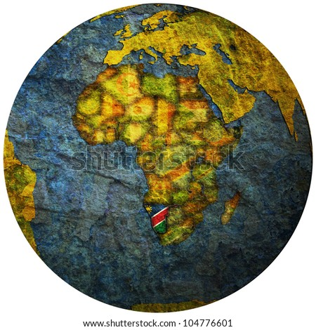 namibia territory with flag on map of globe
