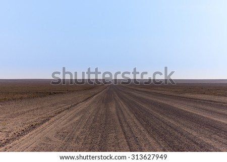 Namibian Gravel Road - stock photo