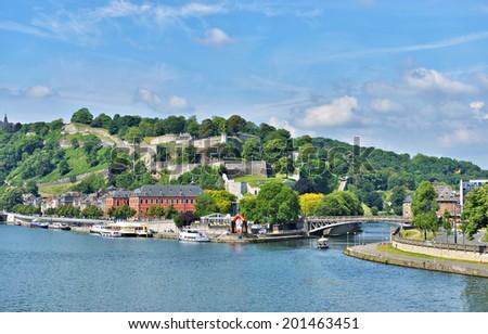 NAMUR, BELGIUM-JUNE 01, 2014: Panoramic view of Namur with installations for tourist activities close to medieval citadel - stock photo
