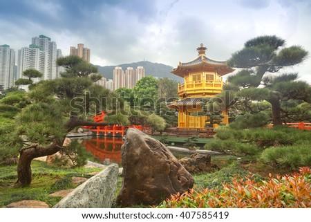 Nan Lian Garden, in Hong Kong - stock photo