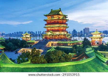 nanchang tengwang pavilion at night ,is one of chinese famous ancient building - stock photo