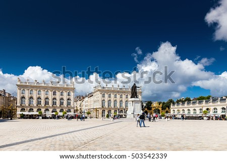 NANCY, FRANCE, AUGUST 05 2016. Buildings on the Stanislas place in Nancy the golden city.