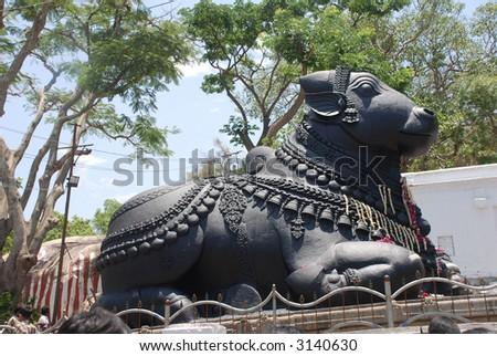 Nandi, Shiva's vehicle, Chamundi, Hill, Mysore, Karnataka, India,  built in 1659 - stock photo