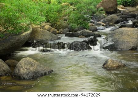 Nangrong Waterfall in Nakhon nayoki, Thailand - stock photo