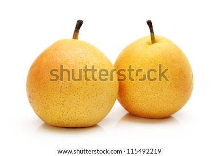 nanguo pear on white background - stock photo