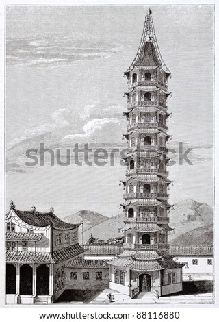 Nanjing porcelain tower old view, then destroyed in 1856. By unidentified author, published on Magasin Pittoresque, Paris, 1844 - stock photo