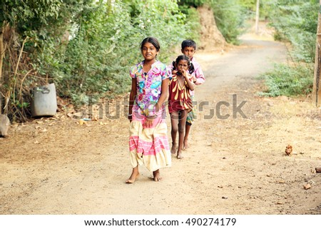 Nannilam, India - 11 May 2016: Unidentified Happy Indian rural school girl at their Village,