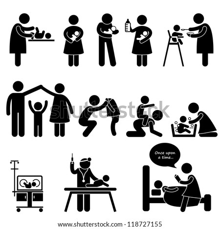 Nanny Mother Father Caring Baby Infant Children Stick Figure Pictogram Icon - stock photo