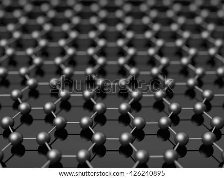Nano black hexagonal structure background concept illustration. - stock photo