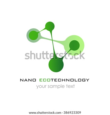 Nano logo - nanotechnology. Template design of logo. presentation.  - stock photo