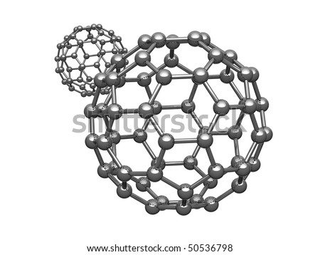 Nano sphere from carbon atoms isolated on white background. There is a clipping path - stock photo