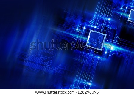 Nano Technology - Processors and Circuit Board. Cool Blue Glowing Laser Blue Elements Technology Background. Quantum Technology. Technology Imagery. - stock photo