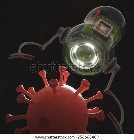 Nanobot capturing a virus in the bloodstream. Clipping path included. - stock photo