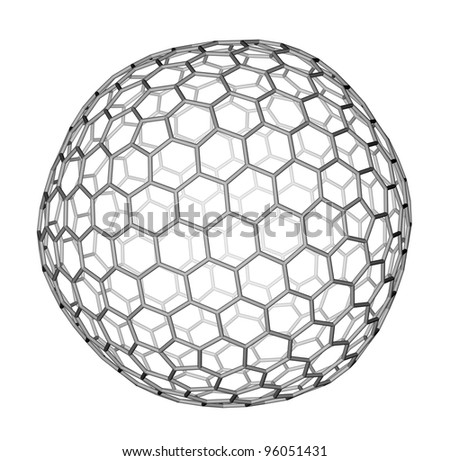 Nanocluster fullerene C540 molecular structure on a white background - stock photo