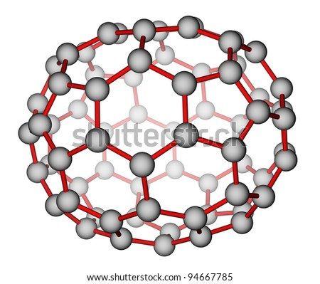 Nanocluster fullerene C70. Optimized molecular structure on a white background. - stock photo