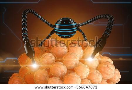 nanorobot fertilizes the cell egg. Medical concept anatomical future. - stock photo