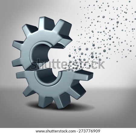 Nanotechnology concept or nanotech symbol of advanced molecular and supramolecular technology as a single open machine gear with miniature microscopic cogs spreading out as a scientific metaphor. - stock photo