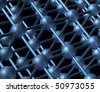 Nanotechnology particle 3D structure with atoms and bindings on dark background - stock photo