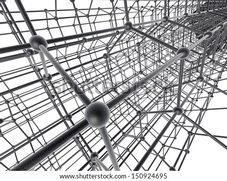 Nanotube structure on white background - stock photo