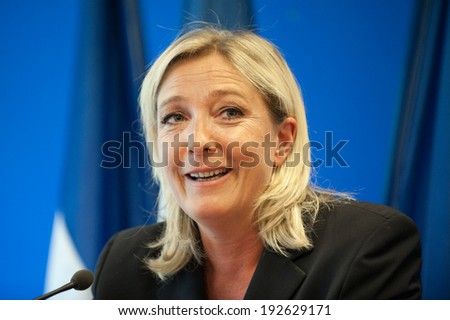 NANTERRE, FRANCE - AUGUST 7, 2011: Marine le Pen in press conference at the headquarter of Front national, the political party she leads