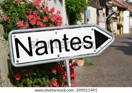 Nantes sign on the street - stock photo