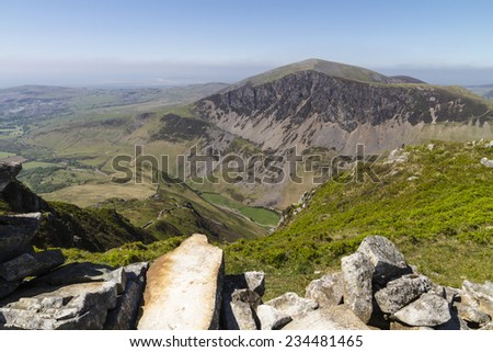 Nantile Ridge viewed from the lower slopes of Snowden, North Wales - stock photo