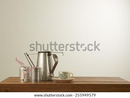 Nanyang style coffee set in mood lighting - stock photo