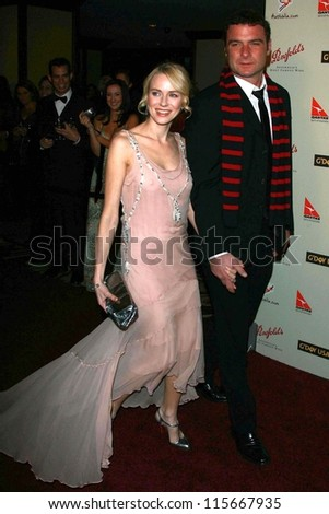 Naomi Watts and Liev Schreiber at the G'Day USA Penfolds Black Tie Icon Gala. Hyatt Regency Century Plaza, Los Angeles, CA. 01-13-07 - stock photo
