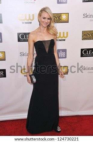 Naomi Watts at the 18th Annual Critics' Choice Movie Awards at Barker Hanger, Santa Monica Airport. January 10, 2013  Santa Monica, CA Picture: Paul Smith - stock photo