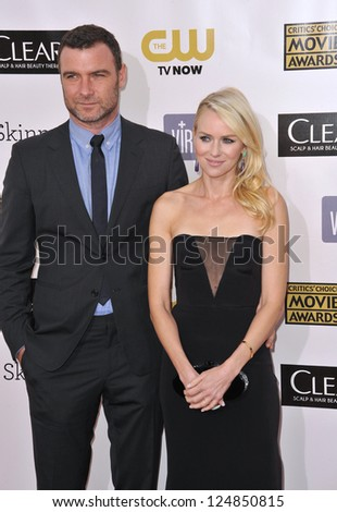 Naomi Watts & Liev Schreiber at the 18th Annual Critics' Choice Movie Awards at Barker Hanger, Santa Monica Airport. January 10, 2013  Santa Monica, CA Picture: Paul Smith - stock photo