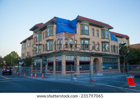 NAPA - November 6: Historic building damaged in 8/24/2014 6.0 earthquake, Napa, California on November 6 2014