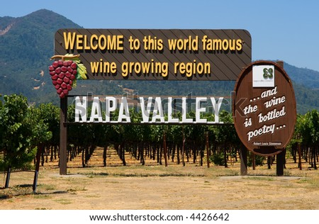 Napa Valley sign on the road before you enter Napa Valley - stock photo