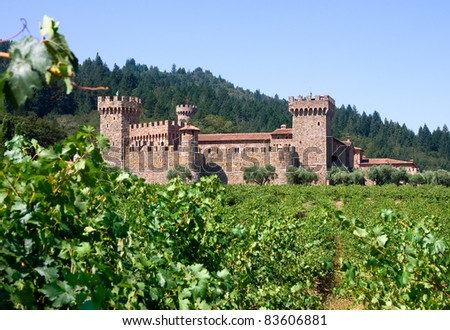 Napa Valley vineyard and castle - stock photo