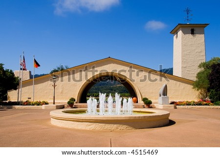 Napa Valley vineyard with fountain in front - stock photo