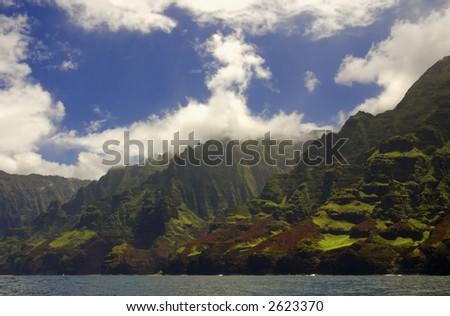 napali coast of kauai hawaii - stock photo