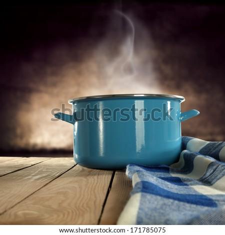 napkin and pot  - stock photo