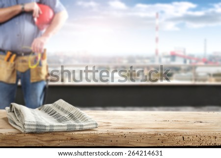 napkin desk and worker  - stock photo