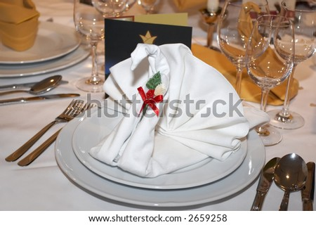 Napkin shaped as a swan in the plate - stock photo