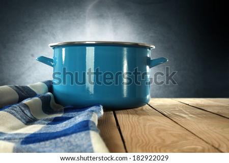 napkin with pot of metal  - stock photo