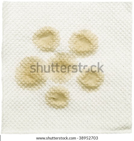 napkin with stain isolated on a white