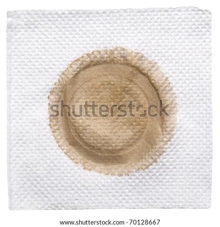napkin with stain isolated on a white - stock photo