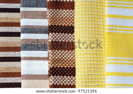 Napkins Variety, brown and yellow pattern - stock photo