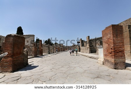 NAPLES, ITALY - JULY 17:  The excavated ruins of Pompeii city on July 17, 2015, Naples, Italy. The city was buried under ash and debris during the eruption of Mount Vesuvius in 79 AD