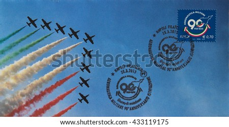 NAPLES, ITALY - JUNE 7, 2016: Customized First Day Cover (FDC) of an Italy stamp dedicated to the Italian air force.  - stock photo