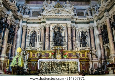 NAPLES, ITALY - JUNE 22, 2014: Interiors and details of the Duomo, cathedral of Naples, built 14th century for saint Januarius, camapnia, - stock photo