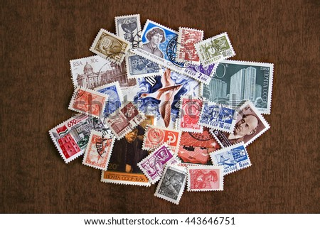NAPLES, ITALY - JUNE 27, 2016: Russian postage stamps
