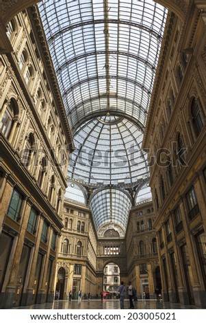 NAPLES, ITALY - MAY 25, 2014: Detail of public shopping, art gallery Galleria Umberto in Naples, Italy. Naples' historic city center is the largest in Europe, and is listed as a World Heritage Site  - stock photo