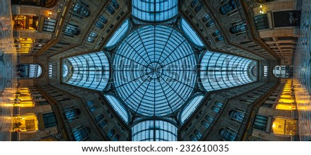NAPLES, ITALY MAY 27, 2012: Panorama interior architectural details of Umberto I gallery in Naples, Italy. It is a public shopping gallery built in 1887-1891. The province of Campania. Italy. - stock photo